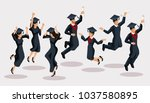 isometrics graduates girls and... | Shutterstock .eps vector #1037580895