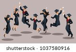 isometrics graduates girls and... | Shutterstock .eps vector #1037580916