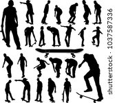 skateboarders big collection... | Shutterstock .eps vector #1037587336