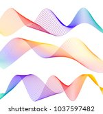 wave of the many colored lines. ... | Shutterstock .eps vector #1037597482
