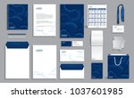 blue corporate identity design... | Shutterstock .eps vector #1037601985