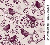 Stock vector garden birds deco tile 103760315