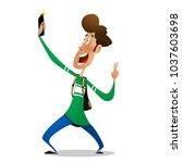 fun cartoon teenager taking... | Shutterstock .eps vector #1037603698