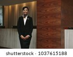 portrait of happy young female...   Shutterstock . vector #1037615188