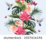 seamless vector floral summer... | Shutterstock .eps vector #1037616196