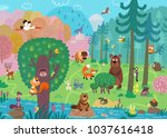 wild animals in the forest. for ...   Shutterstock . vector #1037616418