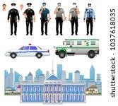 security guard in uniform. bank ... | Shutterstock .eps vector #1037618035