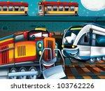 Happy trains - stock photo