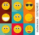 emotional color icons set. flat ... | Shutterstock .eps vector #1037624815