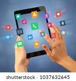 female fingers touching tablet... | Shutterstock . vector #1037632645