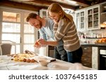 loving couple preparing pasta... | Shutterstock . vector #1037645185