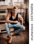 young sexy muscular man   Shutterstock . vector #1037646856