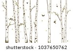 birch tree with deer and birds... | Shutterstock . vector #1037650762