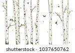birch tree with deer and birds... | Shutterstock . vector #1037650762
