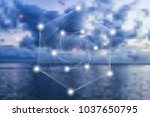 abstract geometric symbol on... | Shutterstock .eps vector #1037650795