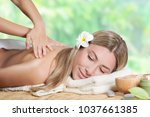 beautiful girl enjoying day spa ... | Shutterstock . vector #1037661385