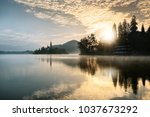 amazing view in autumn    bled...   Shutterstock . vector #1037673292