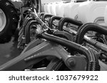 an image of a row seeder. seed... | Shutterstock . vector #1037679922
