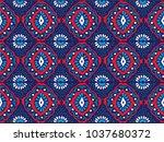 ikat geometric folklore... | Shutterstock .eps vector #1037680372