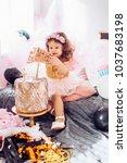 beautiful little girl... | Shutterstock . vector #1037683198