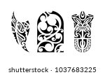 set of polynesian tattoo.... | Shutterstock .eps vector #1037683225