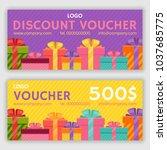 gift voucher template. vector... | Shutterstock .eps vector #1037685775