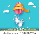 happy easter card with bunny ... | Shutterstock .eps vector #1037686936