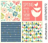 set of retro spring designs and ... | Shutterstock .eps vector #1037690572