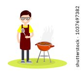 young man frying meat on a... | Shutterstock .eps vector #1037697382