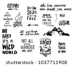 phrases about travel  trips and ... | Shutterstock .eps vector #1037711908