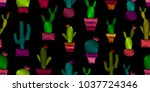 seamless pattern with cactus.... | Shutterstock .eps vector #1037724346