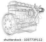 a big diesel engine with the... | Shutterstock . vector #1037739112