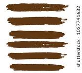 set of hand painted brown brush ...   Shutterstock .eps vector #1037741632
