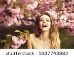 beautiful young woman with long ... | Shutterstock . vector #1037743882