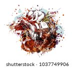Stock vector vector color illustration of a rider with a horse 1037749906