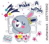 happy cute rabbit girl cartoon... | Shutterstock .eps vector #1037755042