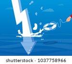 businessman using life buoy...   Shutterstock .eps vector #1037758966