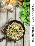 tagliatelle pasta with spinach... | Shutterstock . vector #1037770552