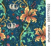 colorful floral seamless vector ...   Shutterstock .eps vector #1037775022