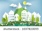scenery of green grass and... | Shutterstock .eps vector #1037823055
