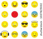 emoji icon collection with... | Shutterstock .eps vector #1037825032
