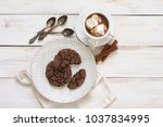 cup of hot chocolate with... | Shutterstock . vector #1037834995