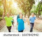 happy senior group walking in ...   Shutterstock . vector #1037842942