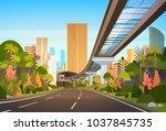 highway road to city skyline... | Shutterstock .eps vector #1037845735
