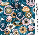 folk floral seamless pattern.... | Shutterstock .eps vector #1037847676