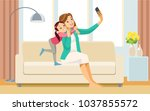beautiful school girl and her... | Shutterstock .eps vector #1037855572