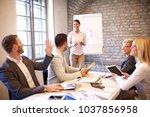 creative business team working... | Shutterstock . vector #1037856958
