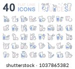 set of vector line icons  sign... | Shutterstock .eps vector #1037865382