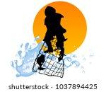 silhouette of fisherman... | Shutterstock .eps vector #1037894425
