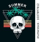 summer paradise text with skull ... | Shutterstock .eps vector #1037897812